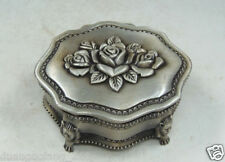 Chinese Collectible Old Handwork miao silver carving flower & lion jewel box NAA