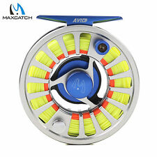 Maxcatch 3/4/5/6/7/8WT CNC Machined Aluminum Fly Fishing Reel + Line Combo