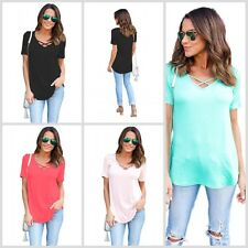 NEW Womens Summer Casual Tops T-Shirt ladies Fitted V neck Short Sleeve Blouse