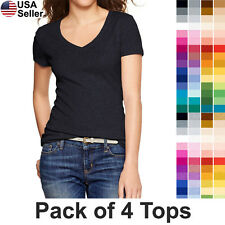 Lot/Bulk 4 V-Neck T Shirt Top Basic Solid Plain Stretch Layer Fitted Women 3009