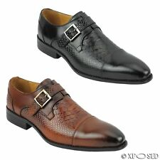 Mens Real Leather Crocodile Print Monk Strap Loafer Dress Shoes in Black Brown