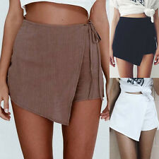Fashion Women Lady Irregular Bandage Summer Skort Short Mini Skirt Shorts Pants