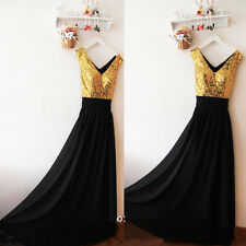 Sexy V Neck Black Bridesmaid Dresses Long Chiffon Gowns With Gold Sequins