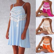 Women Summer Mini Dress Tassel Spaghetti Strap Backless A-Line Slip Dress J4L8