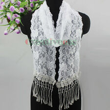 Stylish Fashion Women Girl's Soft Lace Long Wrap Scarf Thin Shawl Lace Tassel