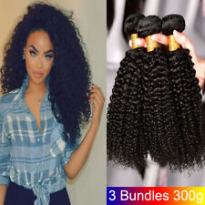 Peruvian Virgin Hair 3 Bundles Kinky Curly Weave Human Hair Extension 300g Black