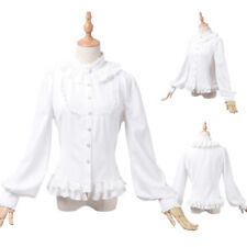 Women Chiffon White Gothic Lolita Stand Up Collar Long Sleeve Lace Blouse Shirt
