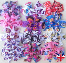 Character Ribbon Hair Bow Elastic Bobbles Hair Clip Girl