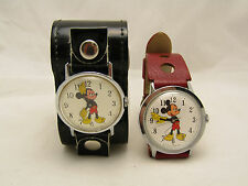 Lot of 2 Vintage Disney Mickey Mouse Jewelry Wrist Watches As Is Not Working