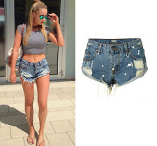Women's Distressed Denim Jeans Cuffed Shorts Wash Ripped Mid-rise Hot Pants New