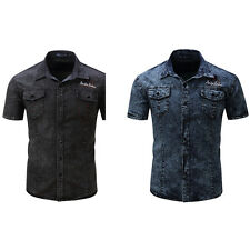 Men's Fashion Summer Short Sleeve Slim Fit Denim Button Front Lapel Shirt Charm