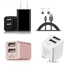 2 Port AC Home Wall Charger US Plug Power Adapter For Phone+1xUSB Charger Cable