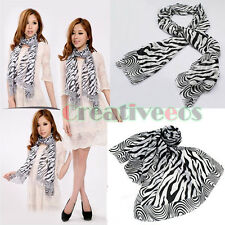 Fashion Women's Ladies Zebra Printed Soft Long Scarf Voile Stole Shawl Wrap New