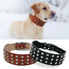 Rivets Studded Genuine Leather Dog Collars for Dogs Rottweiler Labrador S M L XL