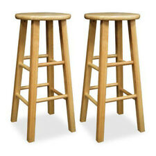 Wooden Bar Stools 2 Pc Set 29 Inch Natural Finish Kitchen Dining Solid Wood Seat