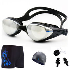 Professional Anti-Fog UV Protection Swimming Goggles Earplug Nose Clip Cap Pants