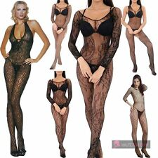 WOMENS SEXY LONG SLEEVE HALTER NECK ZEBRA FLORAL LACE FISHNET BODYSTOCKING