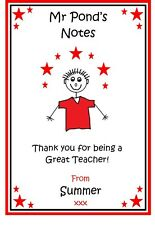 Personalised Notepad Notebook Teacher Teaching Assistant Male Man- Thank you
