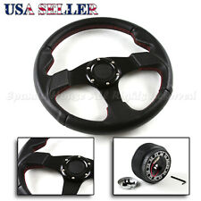 FIT 88-91 ACURA LEGEND USA 320MM RED STITCHED PVC STEERING WHEEL + HUB BOSS KIT