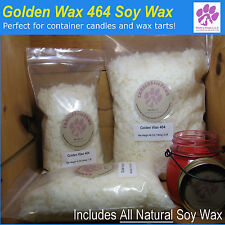 GOLDEN WAX 464 SOY WAX FLAKES FOR CANDLE MAKING SUPPLIES + FREE WICKS + GUIDE!