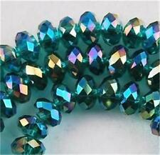 6x8mm Peacock Green Crystal Loose Bead 72pcs##QF3208