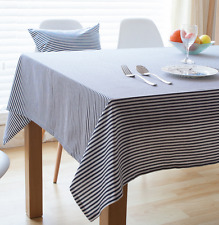 Elegant Blue White Strips  Coffee Table Cotton Linen Cloth Cover oAUr