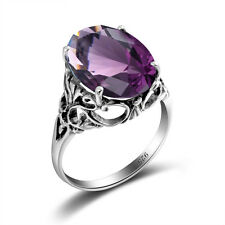 925 Sterling Silver ring Oval Sapphire Vintage Jewelry For Women Gemstone Rings