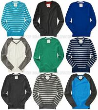 AEROPOSTALE MENS SWEATER V-NECK KNIT COTTON STRIPED SOLID A87 PATCH LOGO NWT