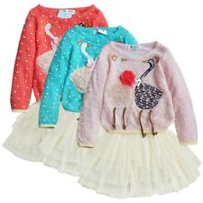 Toddler Baby Girls Party Dress Knit Sweater Tulle Swan Tutu Dress Casual Clothes
