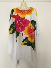 Plus Size fits up 24 26 28 Kaftan Poncho Top,  Flowers,  Hibiscus