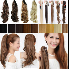 Long Thick Claw Clip-On Pony Tail Hair Extensions Extension Hairpiece Jaw in A32