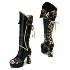 Funtasma by Pleaser EXOTICA-2030 Pirate Boot Women's Black-Gold Pu