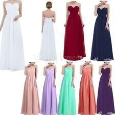 Long Chiffon Lace Evening Formal Party Ball Gown Prom Bridesmaid Dress Size 4-16