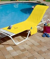 Lounge Chair Cover Beach Chaise Poolside Pool Terry Outdoor Deck Sun Patio Tote