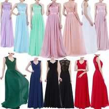 Long Chiffon Lace Evening Formal Party Ball Gown Prom Bridesmaid Dress Size 4~16