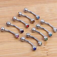1pc 16G surgical steel cz Crystal Gem Curved Bar Barbell Eyebrow Ring Piercing