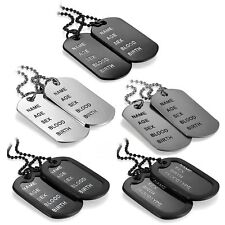 Men's Simple Army Military Black Alloy ID 2 Dog Tags Pendant Necklace Chain Gift