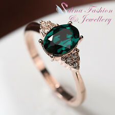 18K Rose Gold Plated Made With Swarovski Crystal Oval Cut Exquisite Emerald Ring