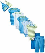 Gerber Baby Boys' Blue Cars 9 Piece Pants and Caps Playwear Bundle Gift Set