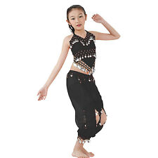 Kids Professional Belly Dance Halter Top Skirt Costume Set with Silver Coins