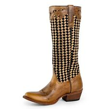 Macie Bean Women's M3008 Snip Toe Boots Tan Sabotage/Black/Tan Basket Weave