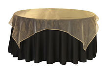 """5Pcs 72"""" Edge Width Square Organza Sheer Table Overlay Cloth Wedding Party Home"""