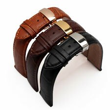 Butterfly Deployment Clasps Genuine Leather Brown Watch Band 14-26mm Strap
