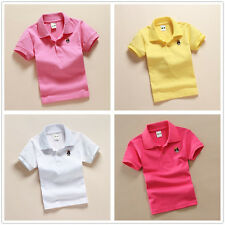 Toddler Baby Kids Boys Girls Short Sleeve Polo T-shirts Top Tee Size 3-12T