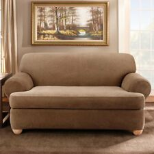 Sure Fit Stretch Stripe T-Cushion Two Piece Sofa Slipcover