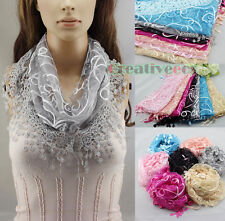 Women Lace Sequins Shawl Ribbon Butterfly Triangle Scarf Wrap Cover-up Tassel