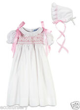 Aurora Royal Baby Girls Cotton Shortsleeved Hand Smocked Ceremony Gown & Bonnet.