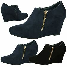 Nadia Womens High Heel Wedge Ankle Boots Gold Zip Detail Smart Ladies Shoes Size
