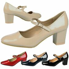 Xanthe Womens Low Mid Block Heels Mary Janes Smart Ladies Court Shoes Pumps Size