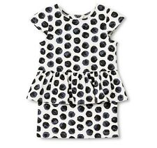 Genuine Kids by OSHKOSH Girls' Peplum Ponte Polka Dot Dress - Almond Cream NWT